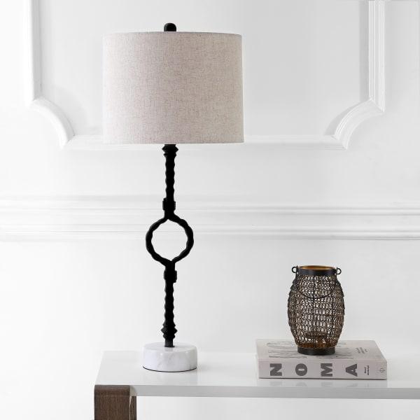 Metal/Marble LED Table Lamp, Black/Gray
