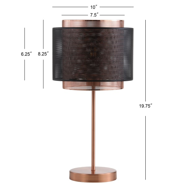 Metal LED Table Lamp, Copper/Black