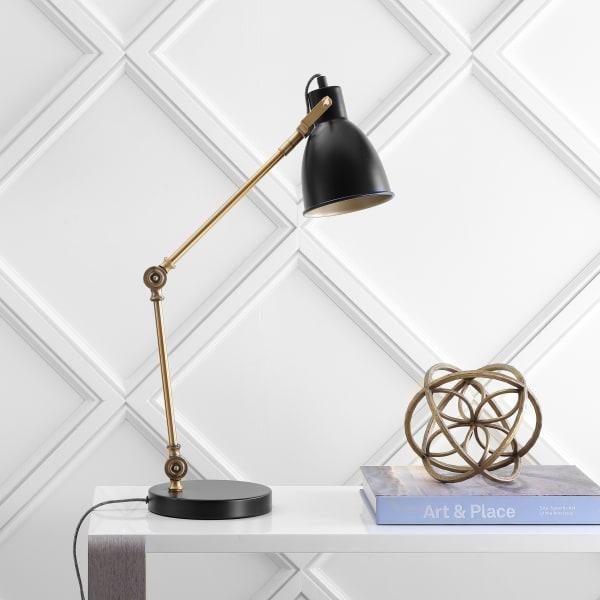 LED Metal Task Lamp, Black/Brass Gold