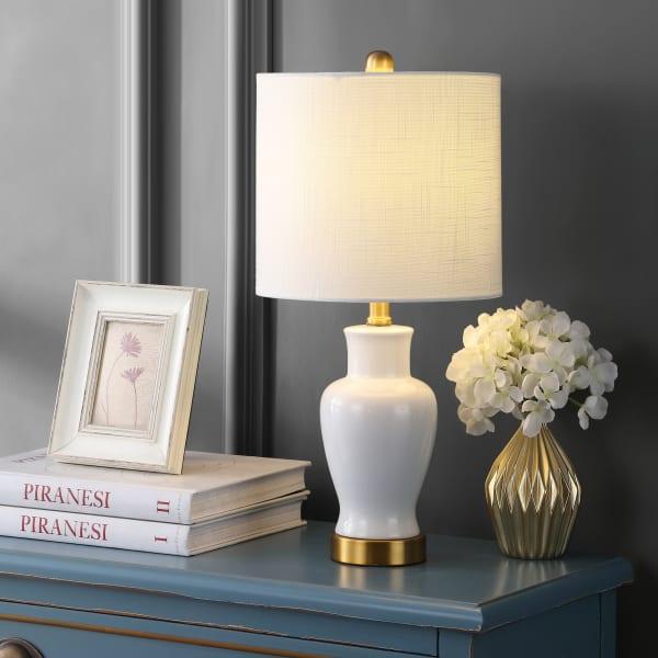 Ceramic/Iron Modern Classic LED Table Lamp, White