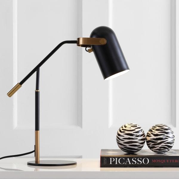 Metal LED Task Lamp, Black/Brass Gold