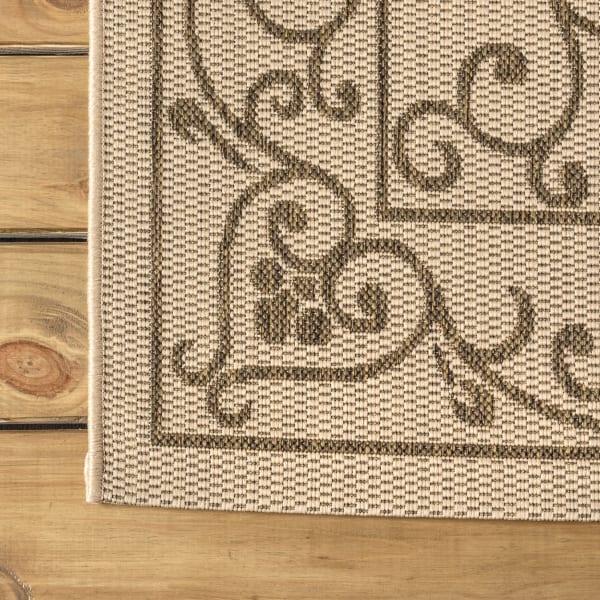 Vintage Filigree Textured Weave Indoor/Outdoor Beige/Brown 8' x 10' Area Rug