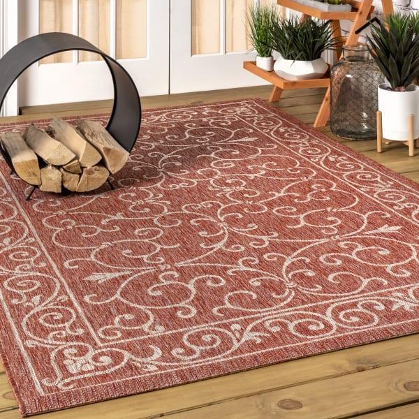 Vintage Filigree Textured Weave Indoor/Outdoor Red/Beige 5' x 8' Area Rug