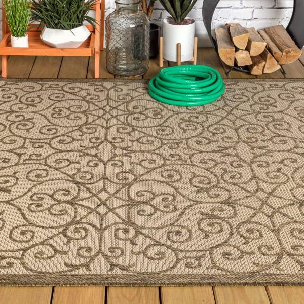 Madrid Vintage Filigree Textured Weave Indoor/Outdoor Beige/Brown 5' x 8' Area Rug
