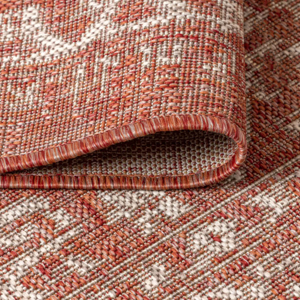 Malta Bohemian Medallion Textured Weave Indoor/Outdoor Red/Taupe 4' x 6' Area Rug