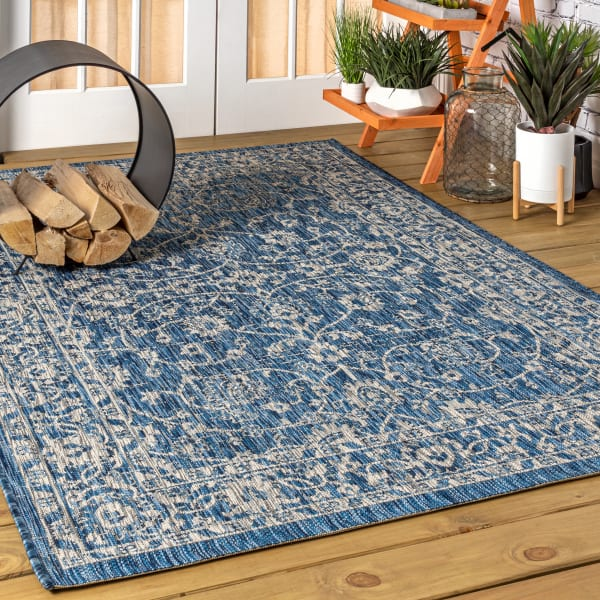 Vine and Border Textured Weave Indoor/Outdoor Navy/Gray 4' x 6' Area Rug