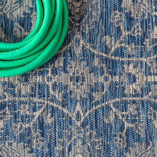 Vine and Border Textured Weave Indoor/Outdoor Navy/Gray 8' x 10' Area Rug