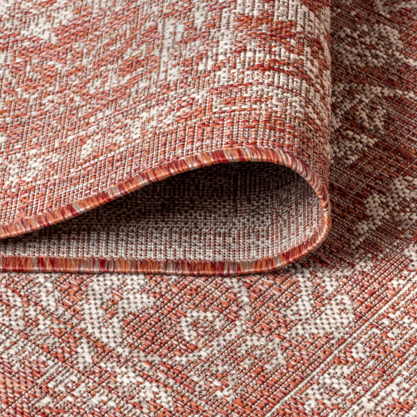 Bohemian Textured Weave Floral Indoor/Outdoor Red/Taupe 8' x 10' Area Rug