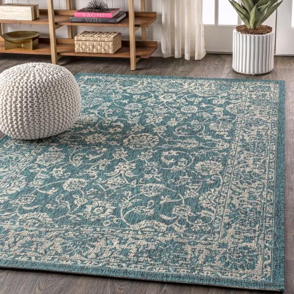 Bohemian Textured Weave Floral Indoor/Outdoor Teal/Gray 4' x 6' Area Rug