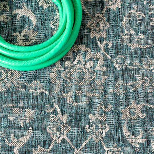Bohemian Textured Weave Floral Indoor/Outdoor Teal/Gray 5' x 8' Area Rug