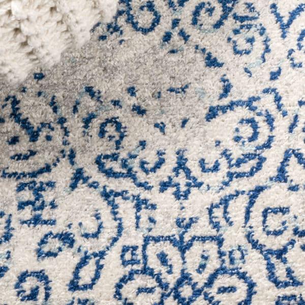 Filigree Blue and White Cream/Blue 4' x 6' Area Rug