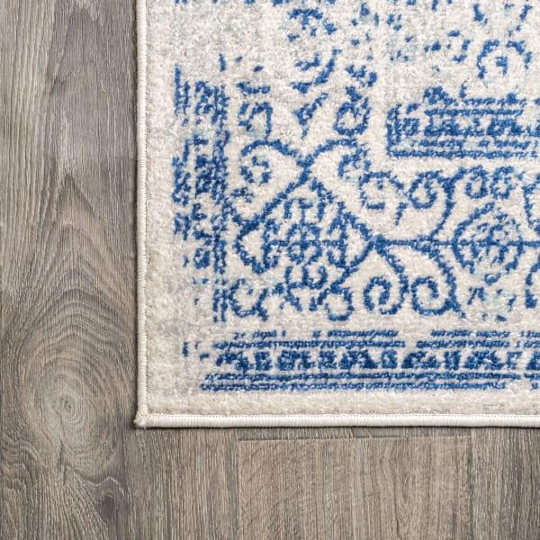 Filigree Blue and White Cream/Blue 5' x 8' Area Rug