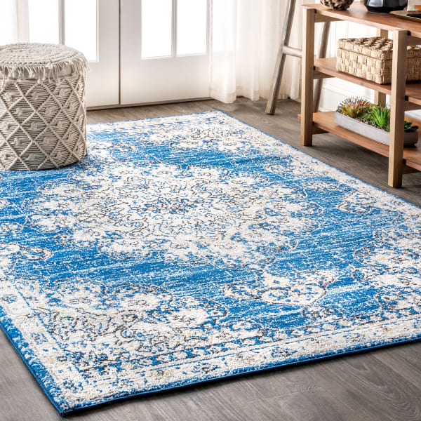 Bohemian FLAIR Boho Vintage Medallion Blue/Cream 8' x 10' Area Rug