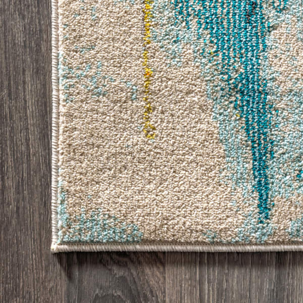 Contemporary POP Modern Abstract Waterfall Blue/Cream 8' x 10' Area Rug
