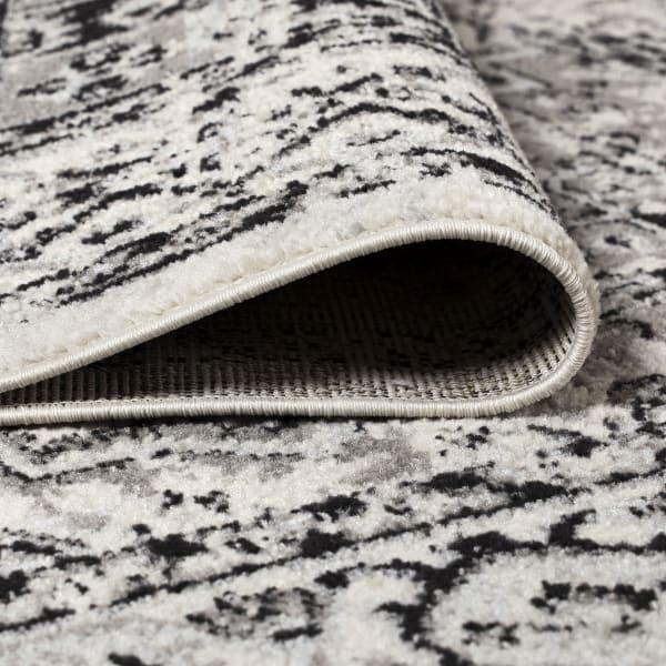 Inigo Black and White Cottage Medallion Dark Gray/Cream 8' x 10' Area Rug
