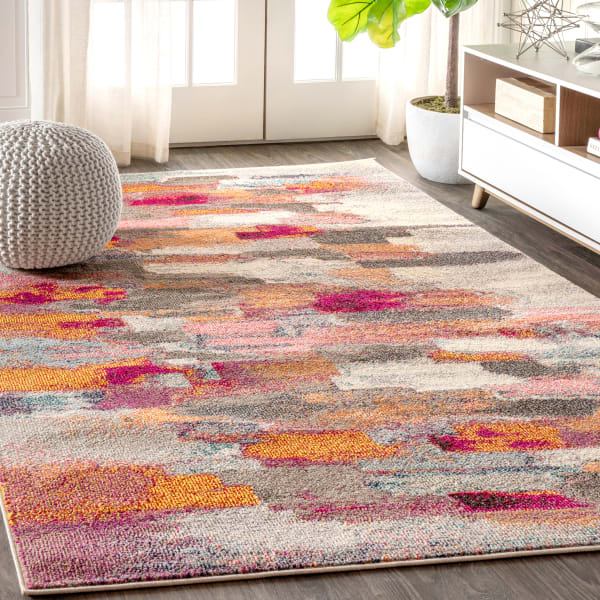 Contemporary Modern Abstract Brushstroke Cream/Pink 4' x 6'  Area Rug