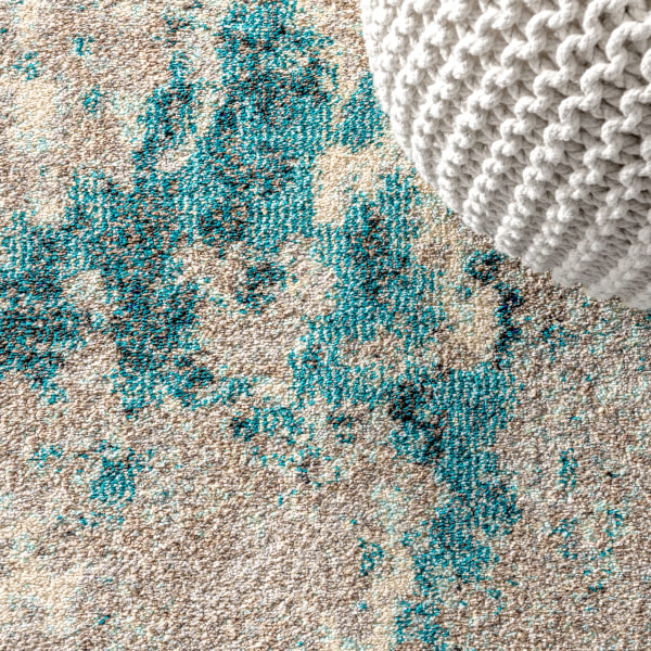 Contemporary Modern Abstract Vintage Faded Gray/Blue 8' x 10' Area Rug