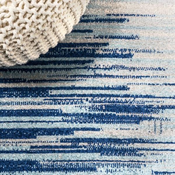 Modern Half-Stripe Blue/Cream  8' x 10' Area Rug