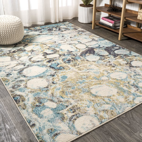 Blue & Beige Marbled Abstract Blue/Beige 4' x 6' Area Rug