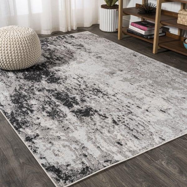 Storm Modern Abstract Gray/Cream 5' x 8' Area Rug