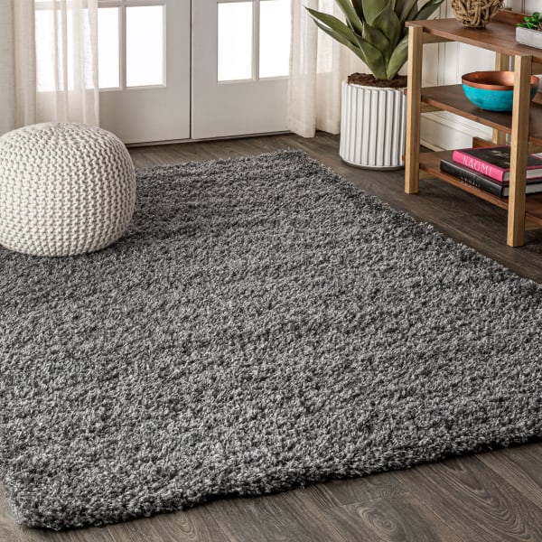 Shag Plush Charcoal Area Rug