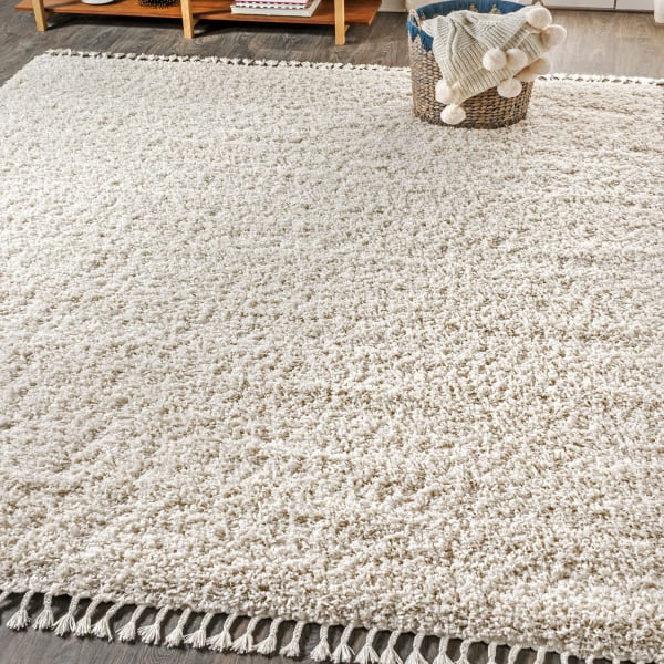 Shag Plush Tassel Cream 5' x 8' Area Rug