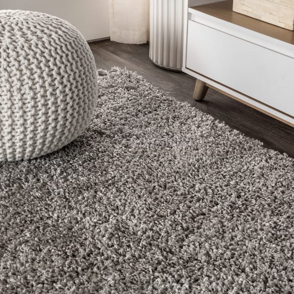 Shag Plush Tassel Grey 5' x 8' Area Rug