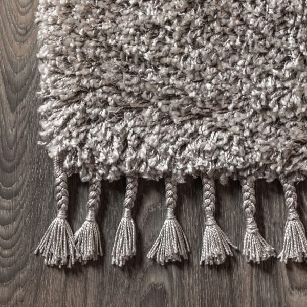 Shag Plush Tassel Grey Area Rug