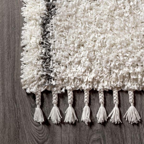 Shag Plush Tassel Moroccan Geometric Trellis Cream/Grey Area Rug