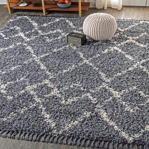 Shag Plush Tassel Moroccan Tribal Geometric Trellis Denim Blue/Cream 4' x 6' Area Rug