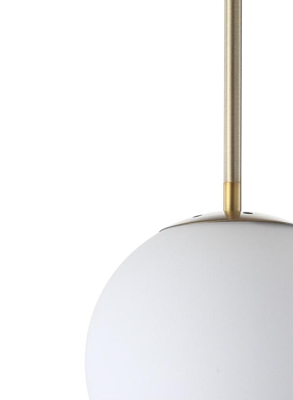 Metal/Glass Globe LED Pendant, White/Brass