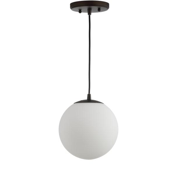 Metal/Glass Globe LED Pendant, White/Oil Rubbed Bronze
