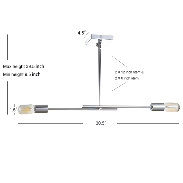 Adjustable Metal LED Linear Pendant, Chrome