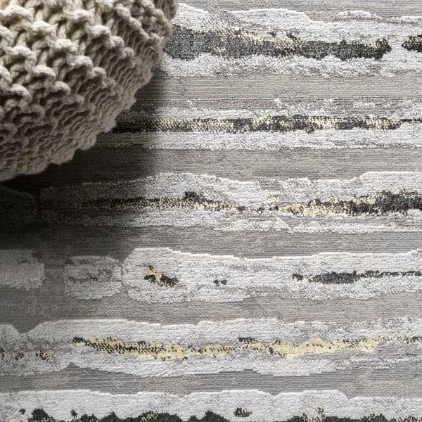 Batten Modern Stripe Gray/Black 5' x 8' Area Rug