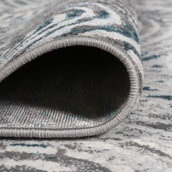Timeworn Modern Abstract Gray/Turquoise 4' x 6' Area Rug