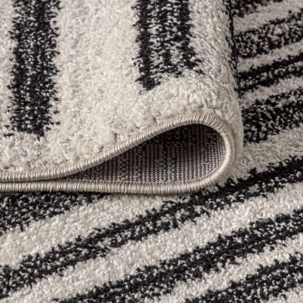 Modern Berber Stripe Cream/Black 5' x 8' Area Rug