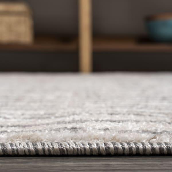 Skoura Modern Bold Stripe Beige/Dark Gray 4' x 6' Area Rug