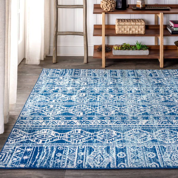 Moroccan HYPE Boho Vintage Tribal Blue/Gray 4' x 6' Area Rug