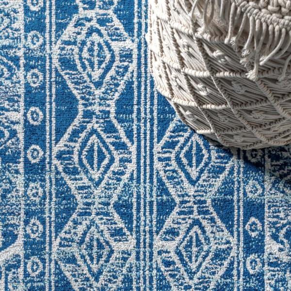 Moroccan HYPE Boho Vintage Tribal Blue/Gray 4' x 6' Area Rug