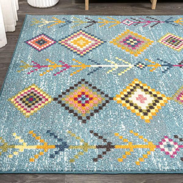 Tribal Love Geometric Light Blue/Multi 5' x 8' Area Rug