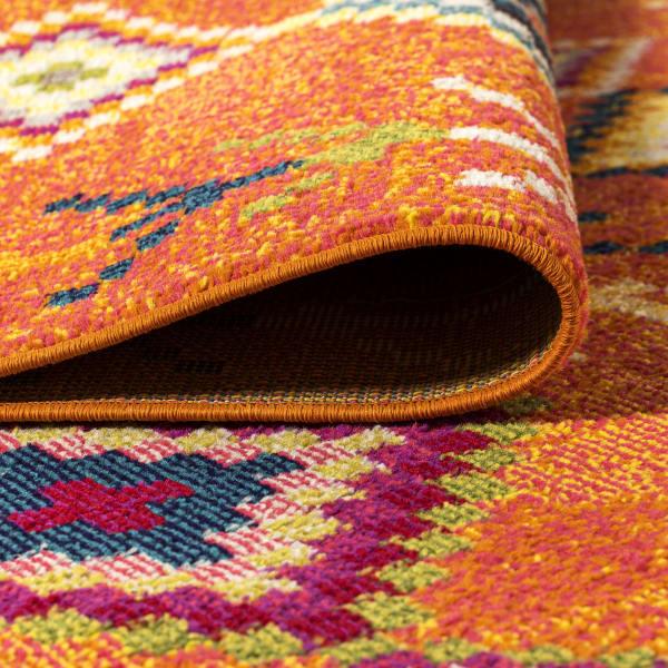 Tribal Love Geometric Orange/Multi 5' x 8' Area Rug