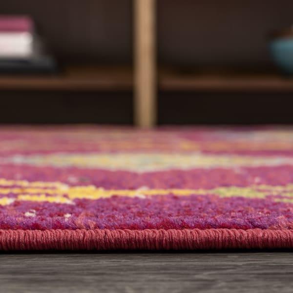 Tribal Love Geometric Pink/Multi 5' x 8' Area Rug