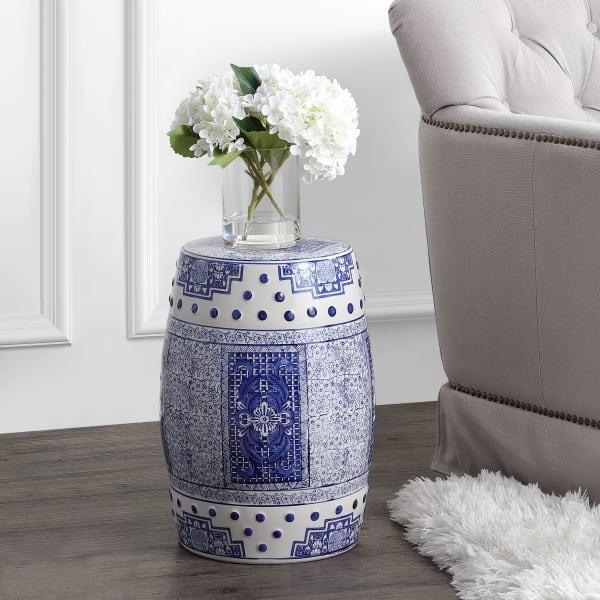 Acanthus Chinoiserie Ceramic Drum Garden Stool, Blue/white