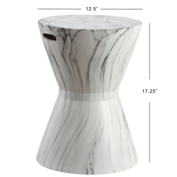 African Drum White Marble Finish Ceramic Garden Stool