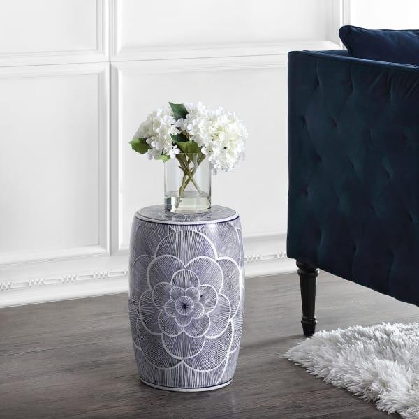 Ceramic Drum Garden Stool, Blue