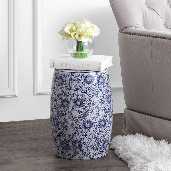 Lotus Blossom Chinoiserie Ceramic Drum Garden Stool, Blue/White