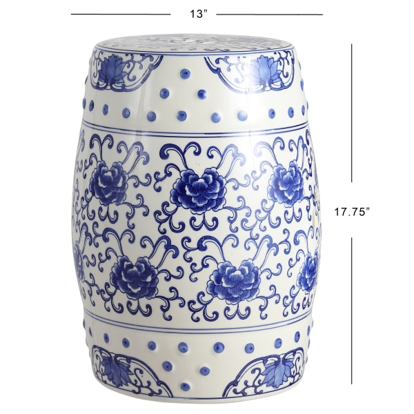 Lotus Flower Chinoiserie Ceramic Drum Garden Stool, Blue/White