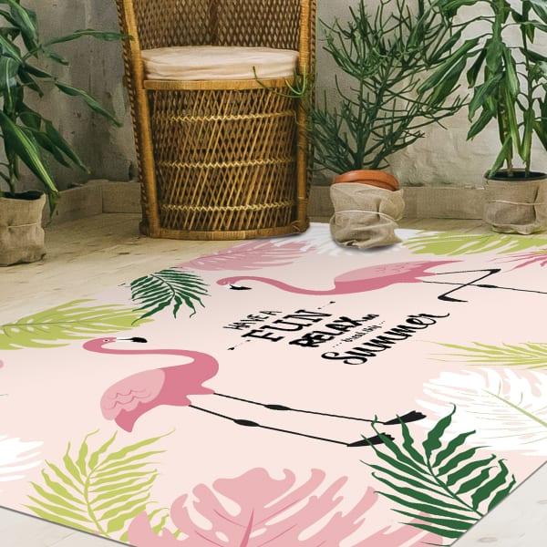 Tropical Flamingo Print Vinyl 4'5