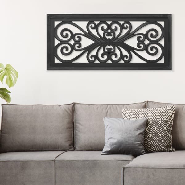 Black Hand-Carved Floral Wood Panel & Wall Decor