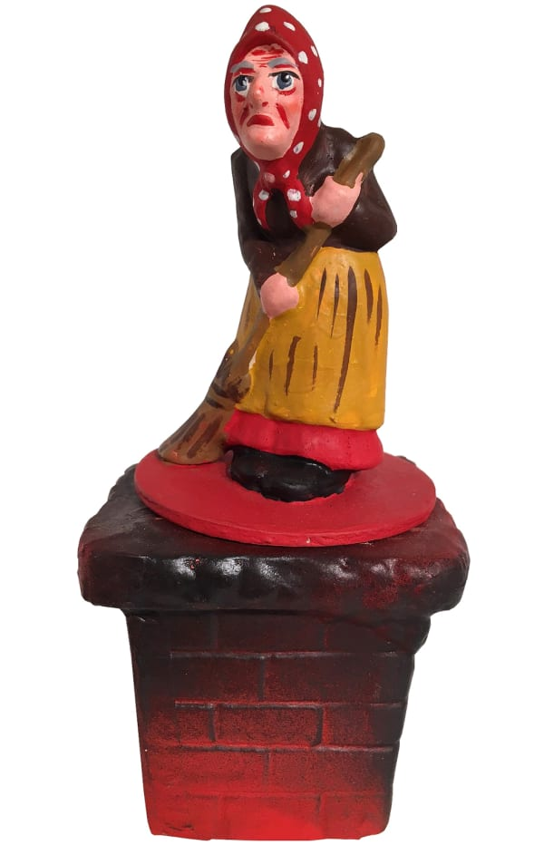 Schaller Paper Mache Old Lady on Chimney Candy Container